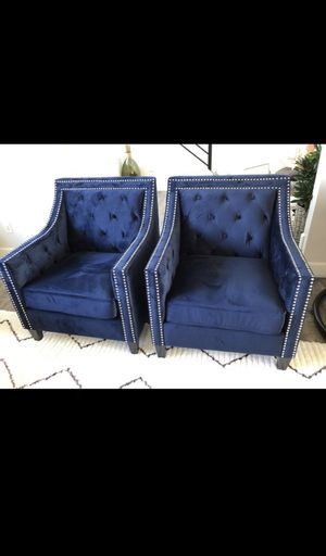 BLUE VELVET TUFTED ACCENT CHAIRS BRAND NEW ($300 EACH/$600 BOTH) for Sale in Renton, WA