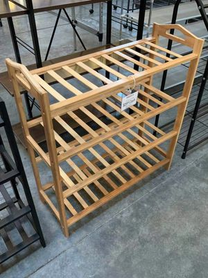 New in box 27x11x30 inches tall 4 tier bamboo shoe storage rack organizer stand for Sale in Los Angeles, CA