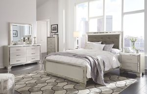 Lonnix - Silver Finish - 7 Pc. - Dresser, Mirror, Queen Panel Bed & 2 Nightstands for Sale in Naples, FL