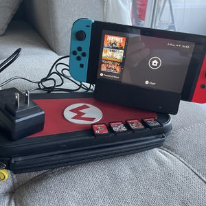 Nintendo Switch + 4 Games + Case + Dock With Charger for Sale in Fort Lauderdale, FL