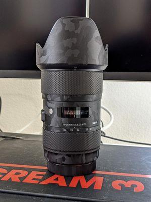 Sigma 18-35mm f1.8 DC Art lens custom camo vinyl + variable ND Canon for Sale in Sacramento, CA