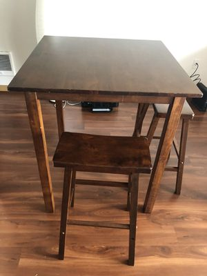 3 piece High Table with Two saddle seat bar stools- Walnut for Sale in Lynnwood, WA