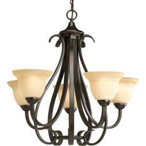 Progress Lighting Torino 5-Light Forged Bronze Chandelier with Tea-Stained Glass Shade. Brand New! for Sale in Plantation, FL