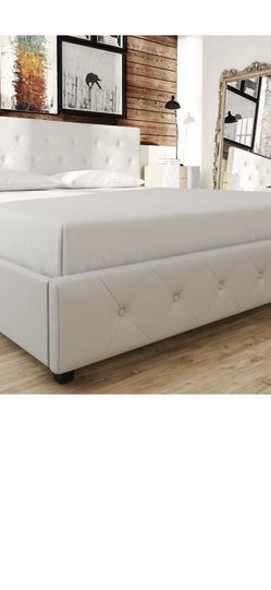 DHP Dakota Upholstered Platform Bed, King Size Frame, White for Sale in Las Vegas,  NV