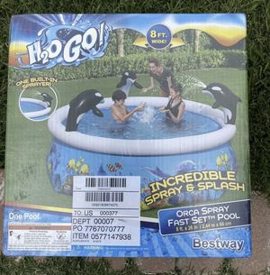 """H2OGO! 8ft Orca Spray Fast Set Swimming Pool Kids Inflatable Family Outdoor 8' X 26"""" for Sale in Hialeah, FL"""