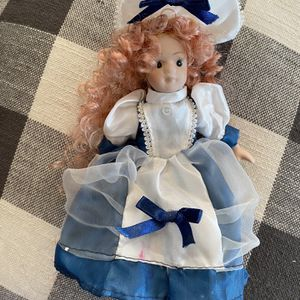 Vintage Porcelain Blue & White Curly Doll for Sale in Beacon, NY