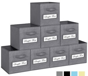 TomCare 8-Pack Storage Cubes Foldable Fabric Cube Storage Bins with 10 Label Window Cards Cloth Cube Organizer Bins Storage Baskets Containers for Sh for Sale in Los Angeles, CA