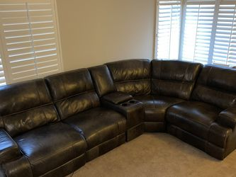 Brown Leather Sectional w/ Reclining Seats for Sale in Escondido,  CA