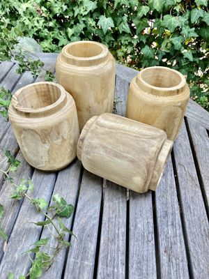 Contemporary Set of Hand Carved Wooden Vases for Sale in Los Angeles, CA