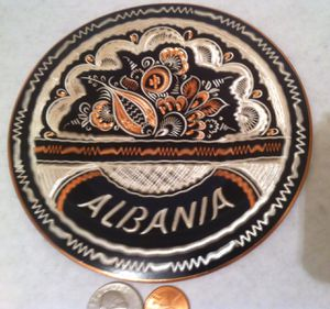 "Vintage Metal Copper Wall Hanging Plate, Intricate Design, Fancy, Albania, 5 1/2"" Wide, Home Decor, Wall Decor, Shelf Display for Sale in Lakeside, CA"