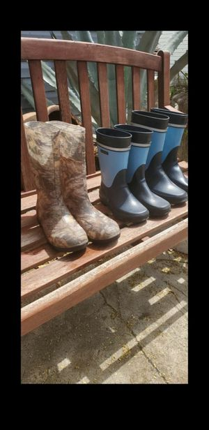 Lot of 3 pairs Rubber boots nokian camouflage water boots size 32,36,and a 6 small feet for Sale in Homestead, FL