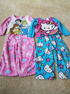 2 sets fleece pajamas hello kitty and disney princess size 2T - $7 price firm for Sale in Rockville, MD