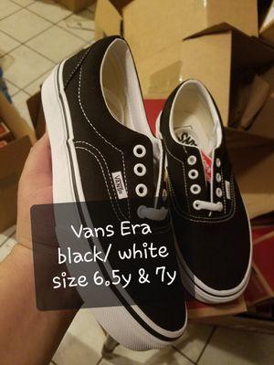 Vans era black white size 6.5y 7y new for Sale in Stockton, CA