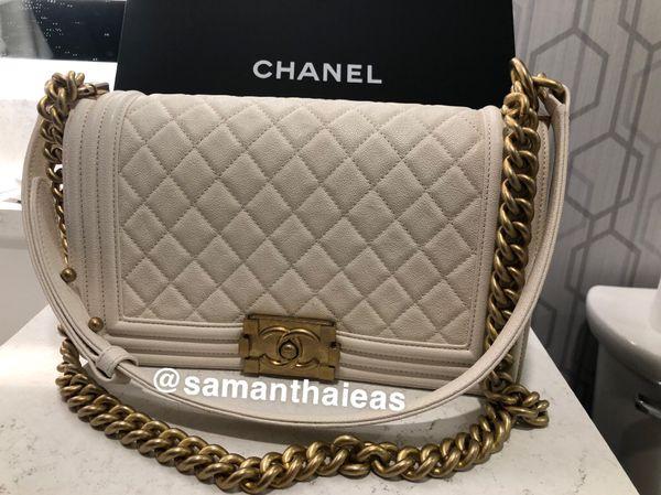 Chanel Medium Boy Bag - White w/ Gold Hardware