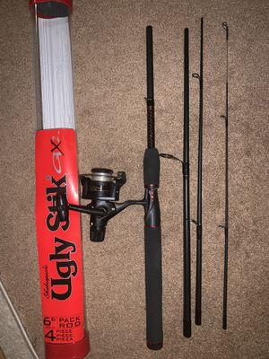 6 foot 6 inches Ugly stick gx2 4 piece travel fishing rod with shimano 1000 reel for Sale in Lyndhurst, NJ