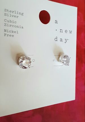 Shipping or PickUp: A New Day sterling silver cubic zirconia nickel-free faux diamond stud post earrings for Sale in Fullerton, CA