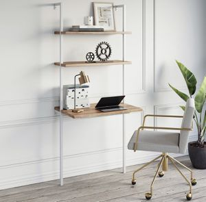 2-Shelf Industrial Wall Mount Ladder Desk, Small Computer or Writing Desk, Rustic Oak/ White for Sale in Upland, CA