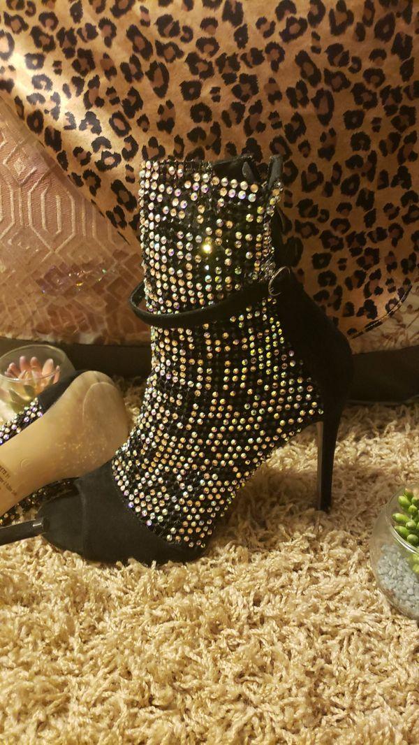 Black Lace MESH Stiletto Ankle Booties SZ 11