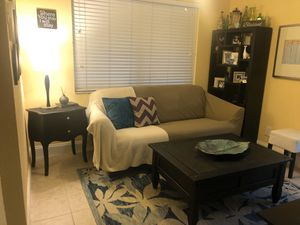 Tiny Living Room | Leather Sofa, Side table, Geometry Bookshelf and TV Stand. for Sale in South Miami, FL