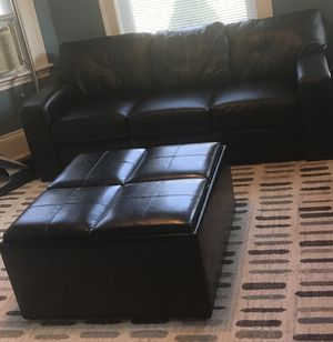 Black Leather Storage Ottoman for Sale in Beverly, MA