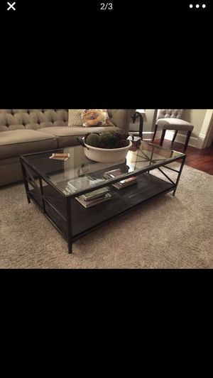 Beautiful glass, metal and wood coffee table! Great condition for Sale in Bothell, WA