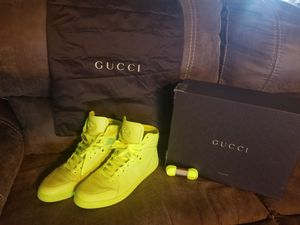 Gucci neon matte high top sneakers size 10.5 with box, laces, bag for Sale in Largo, FL