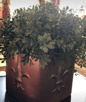 Artificial plant in copper fleur de lis pot for Sale in Fullerton, CA