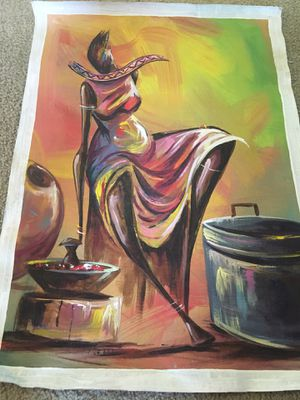 Ghana Original Signed Oil Painting on Canvas for Sale in Alexandria, VA