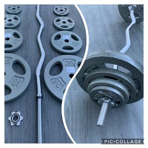 Standard Weights 2x25lbs 2x10lbs 2x5lbs 2x2.5lbs Standard Ez Curl Bar (BRAND NEW) for Sale in Riverside, CA