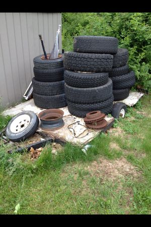 28 tires and a trailer for Sale in Stoughton, MA