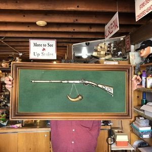 34x16 antique vintage in frame metal rifle on green felt. 25.00. Great gift or great for office, man cave, country home. 212 North Main Street. Buda. for Sale in Austin, TX