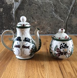 Holiday Tea/Coffee Pot and Sugar Jar for Sale in Bozeman, MT