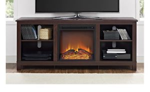"""NEW in Box, Cherry Brown TV Stand with Electric Fireplace and Heather fits up to 65"""" for Sale in Houston, TX"""