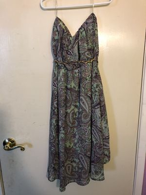 Sea-foam & Purple Print Halter Dress with Braided Belt (M) for Sale in San Bruno, CA