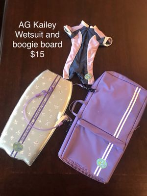 American girl Kailey wetsuit and boogie board for Sale in Clovis, CA