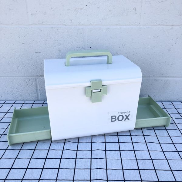 Green Mint Medicine Storage Container Bin With Drawers Divider Plastic Box For First Aid Kit Household
