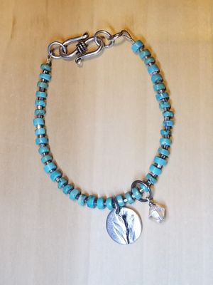 Turquoise, silver bracelet with PMC charm for Sale in Columbus, OH