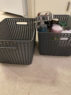 Grey storage baskets x 3 pcs- large size for Sale in Alameda, CA