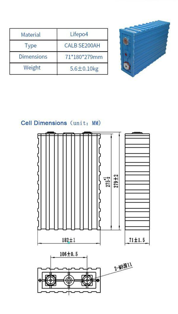 200Ah Calb Lifepo4 3.2V Baterrie camper