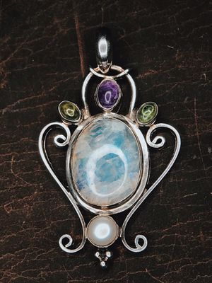 Amethyst, Moonstone, Peridot & Pearl Sterling Silver Pendant for Sale in San Francisco, CA