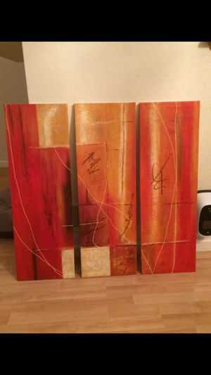 Modern abstract art side-by-side oil paintings for Sale in Scottsdale, AZ