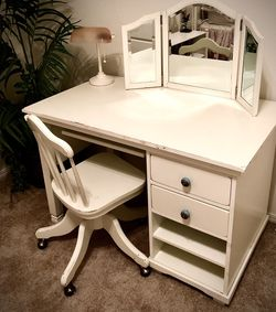 Desk - Pottery Barn Distressed Desk, Chair And Vanity - Moving Sale Price Reduced for Sale in Redmond,  WA