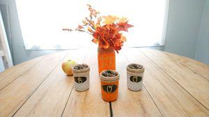 """Happy Fall""/""BOO"" Fall/Halloween Mason jar decor for Sale in Groves, TX"