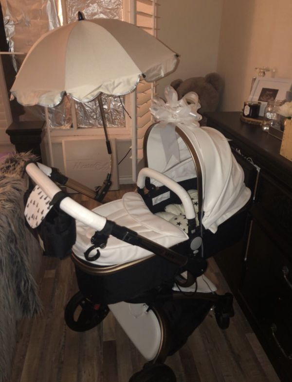 Brand New In Box Baby Stroller 3 In 1 Black White And Gold