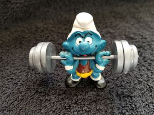 Smurfs Weightlifting Super Smurf Barbell Weight Lifter Vintage Figure for Sale in San Diego, CA