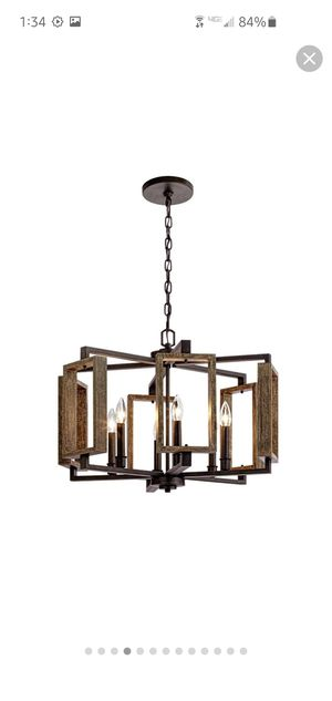6 light wooden chandelier gently used for Sale in Long Beach, CA