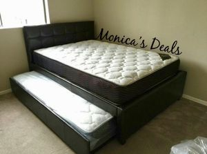 Full size bed & twin trundle + 2 mattresses $380 for Sale in Long Beach, CA