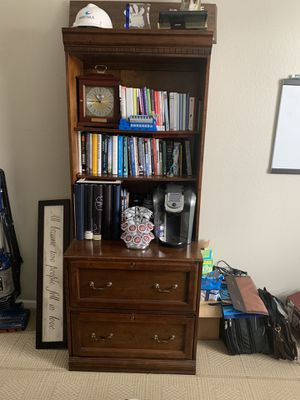 Desk and book shelf with hutch for Sale in Littleton, CO