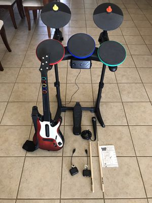 PlayStation PS3/PS2 Rock Band Drum Set Guitar Hero Bundle (Used) for Sale in Apple Valley, CA