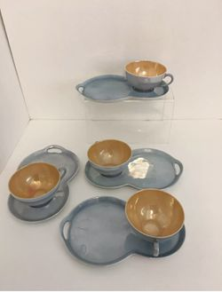 Vintage Victoria Czecho -Slovakia Blue Lustreware Tea Cups With Saucers Set Of 4 for Sale in Houston,  TX
